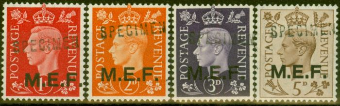 Collectible Postage Stamp from Middle East Forces 1942 SGM1s-M5s Specimen set of 4 Very Fine MNH