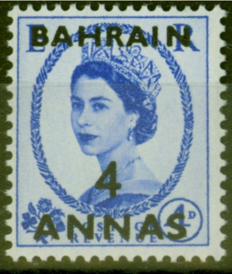 Collectible Postage Stamp from Bahrain 1953 4a on 4d Ultramarine SG86 V.F Very Lightly Mtd Mint