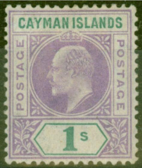 Old Postage Stamp from Cayman Islands 1907 1s Violet & Green SG15a Dented Frame Mtd Mint