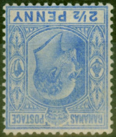 Old Postage Stamp from Bahamas 1906 2 1/2d Ultramarine SG73w Wmk Inverted Fine Lightly Mtd Mint