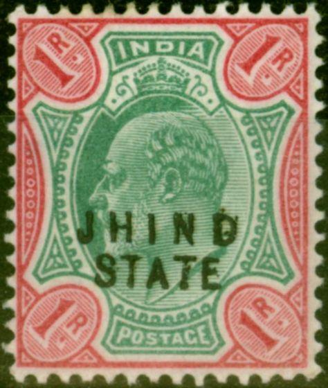 Jind 1905 1R Green & Carmine SG55 Fine Lightly Mtd Mint