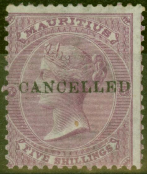 Rare Postage Stamp from Mauritius 1878 5s Brt Mauve SG72 Cancelled Good Mtd Mint