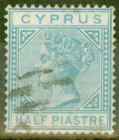 Collectible Postage Stamp from Cyprus 1881 1/2pi Emerald Green SG11 Fine Used