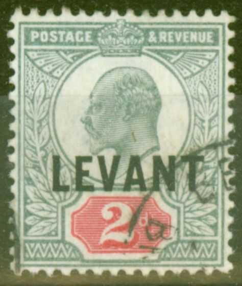 Rare Postage Stamp from British Levant 1905 2d Grey-Green & Carmine-Red SGL4 V.F.U