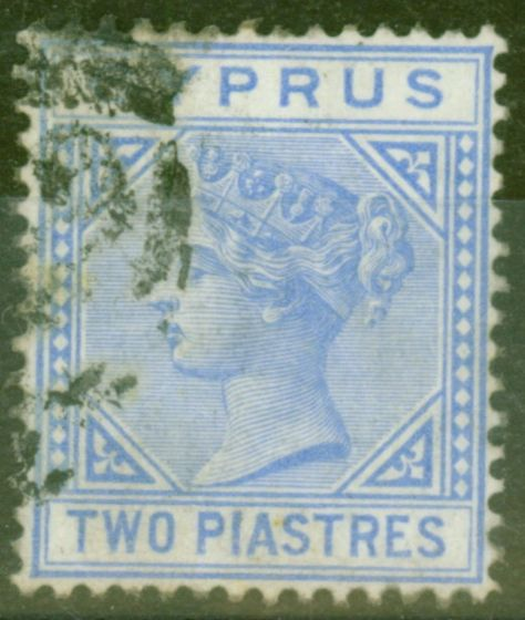 Collectible Postage Stamp from Cyprus 1881 2p Blue SG13 Fine Used