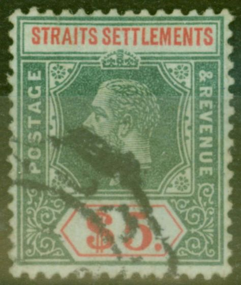 Rare Postage Stamp from Straits Settlements 1913 $5 Green & Red-Green SG212 Fine Used