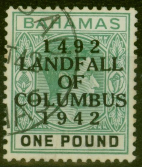 Valuable Postage Stamp from Bahamas 1942 £1 Dp Grey-Green & Black (thick paper) SG175 V.F.U