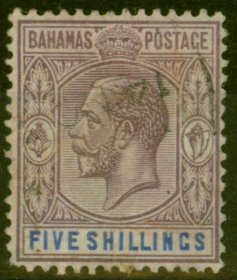 Valuable Postage Stamp from Bahamas 1924 5s Dull Purple & Blue SG124 Fine Used