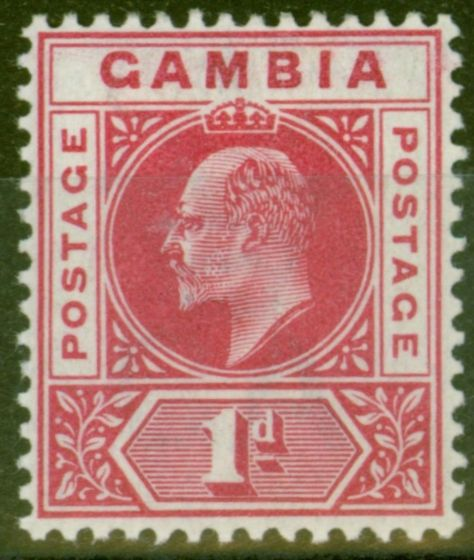 Collectible Postage Stamp from Gambia 1902 1d Carmine SG46 Fine & Fresh Lightly Mtd Mint