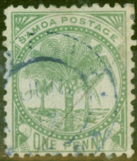 Collectible Postage Stamp from Samoa 1887 1d Yellow-Green SG27 P.12 x 11.5 Fine Used