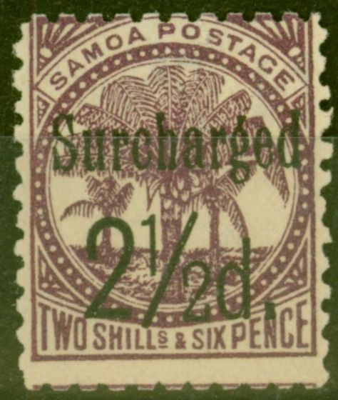 Old Postage Stamp from Samoa 1898 2 1/2d on 2s6d Dp Purple SG87 Fine Mtd Mint (10)
