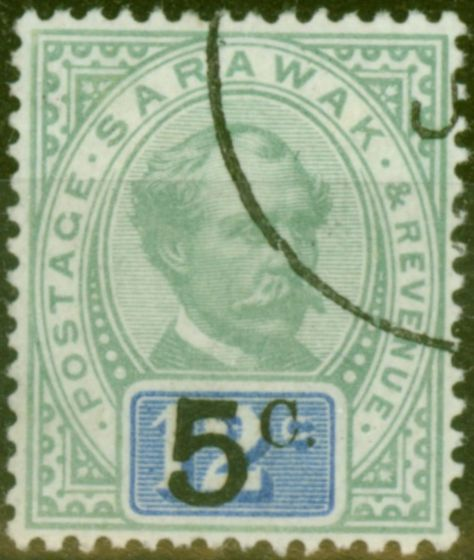 Rare Postage Stamp from Sarawak 1891 5c on 12c Green & Blue SG25 With Stop Superb Used