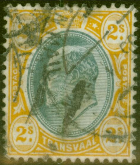 Collectible Postage Stamp from Transvaal 1903 2s Grey-Black & Yellow SG257 Good Used