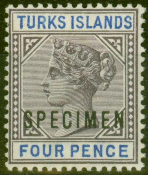 Old Postage Stamp from Turks & Caicos Is 1895 4d Dull Purple & Ultramarine Specimen SG71s V.F Mtd Mint
