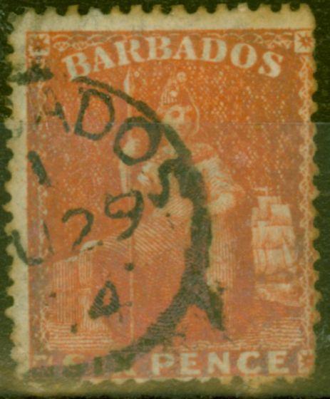 Valuable Postage Stamp from Barbados 1873 6d Orange-Vermilion SG60 Fine Used