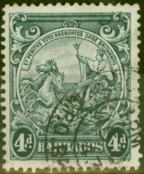 Collectible Postage Stamp from Barbados 1938 4d Black SG253b Curved Line at Top Right Fine Used