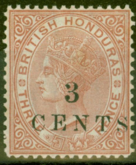 Valuable Postage Stamp from British Honduras 1888 3c on 3d Chestnut SG26 P.14 Fine & Fresh Mtd Mint