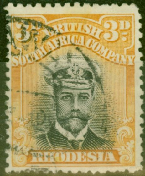 Rare Postage Stamp from Rhodesia 1913 3d Black & Buff SG223 Die II Fine Used