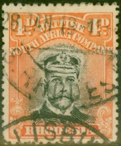 Valuable Postage Stamp from Rhodesia 1913 4d Black & Orange-Red SG224 Die II Good Used