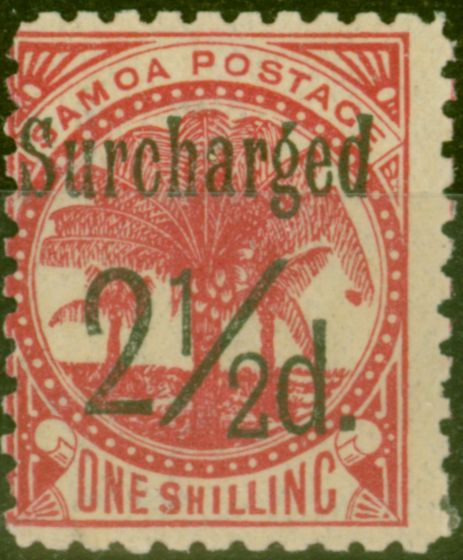 Collectible Postage Stamp from Samoa 1898 2 1/2d on 1s Dull Rose-Carmine SG86 Fine Mtd Mint (26)