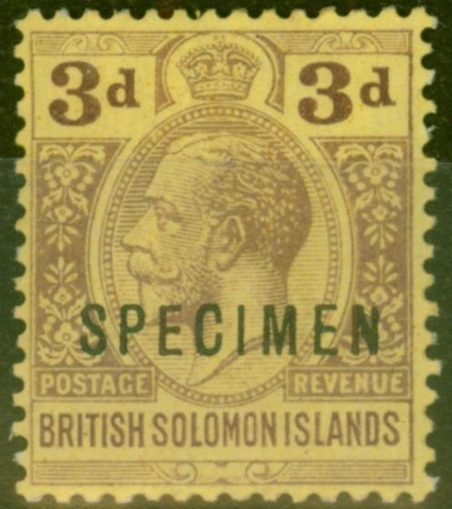Collectible Postage Stamp from Solomon Islands 1923 3d Purple-Pale Yellow Specimen SG28s Fine Mtd Mint