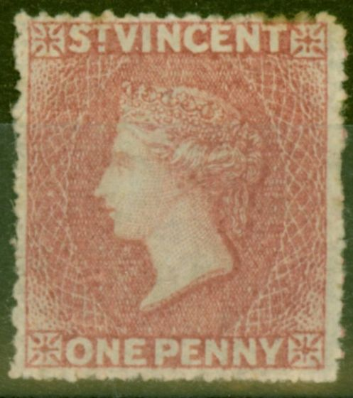 Old Postage Stamp from St Vincent 1862 1d Rose-Red SG5 Fine Mtd Mint