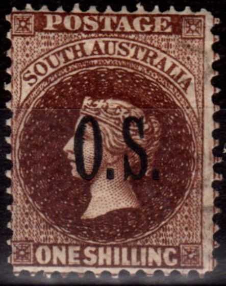 Collectible Postage Stamp from South Australia 1902 1s Dull Brown SG036 P.11.5-12.5 Wmk 10 Fine Lightly Mtd