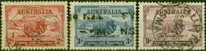 Collectible Postage Stamp from Australia 1934 Set of 3 SG150-152 Fine Used
