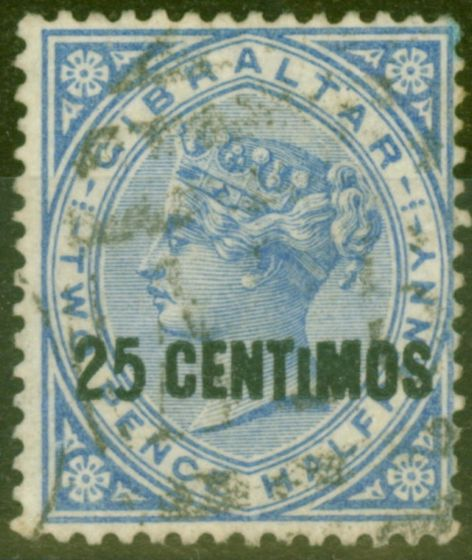 Old Postage Stamp from Gibraltar 1889 25c on 2 1/2d Brt Blue SG18ab Small I Fine Used