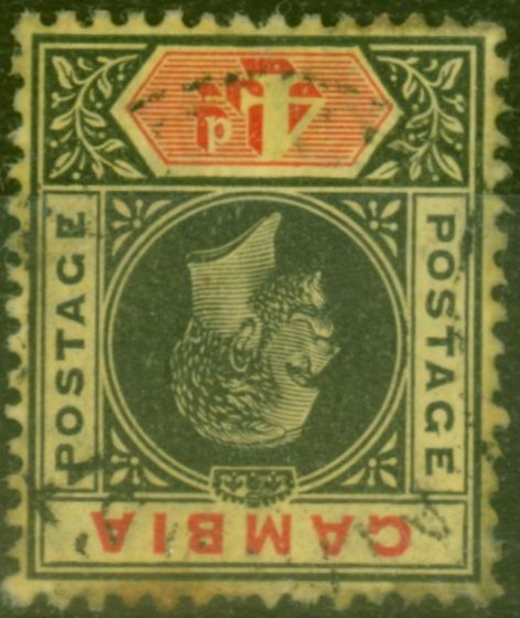 Rare Postage Stamp from Gambia 1912 4d Black & Red-Yellow SG92w Wmk Inverted Fine Used