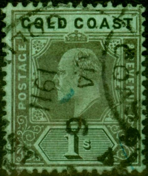 Old Postage Stamp from Gold Coast 1909 1s Black-Green SG65a Damaged Frame & Crown Fine Used