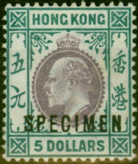Rare Postage Stamp from Hong Kong 1903 $5 Purple & Blue-Green Specimen SG75s V.F & Fresh Lightly Mtd Mint