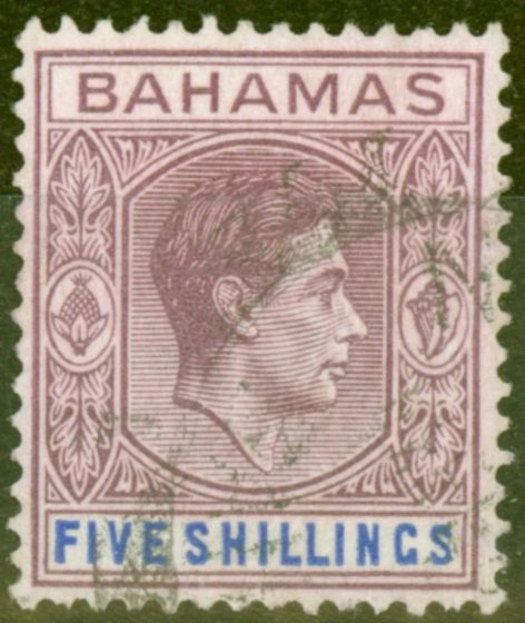 Collectible Postage Stamp from Bahamas 1951 5s Red-Purple & Dp Brt Blue SG156e Fine Used