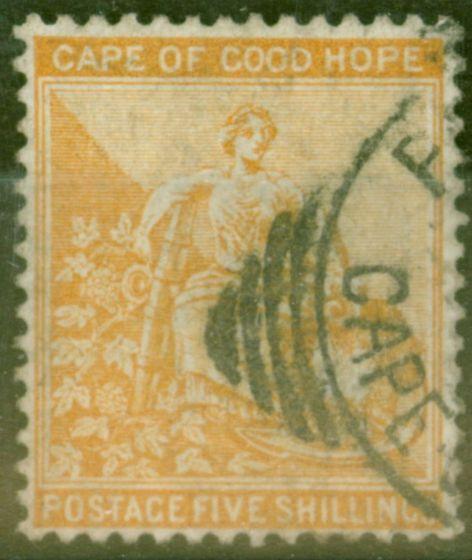 Valuable Postage Stamp from COGH 1883 5s Orange SG45 Wmk CA V.F.U.