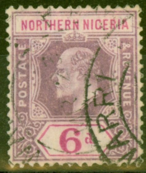 Old Postage Stamp from Northern Nigeria 1905 6d Dull Purple & Violet SG25 Fine Used