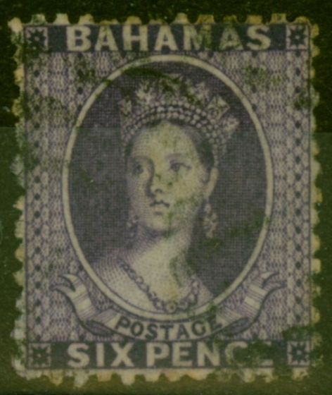 Rare Postage Stamp from Bahamas 1863 6d Dp Lilac SG31 Fine Used