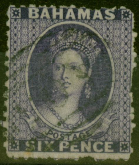 Rare Postage Stamp from Bahamas 1863 6d Lilac SG30 Fine Used.