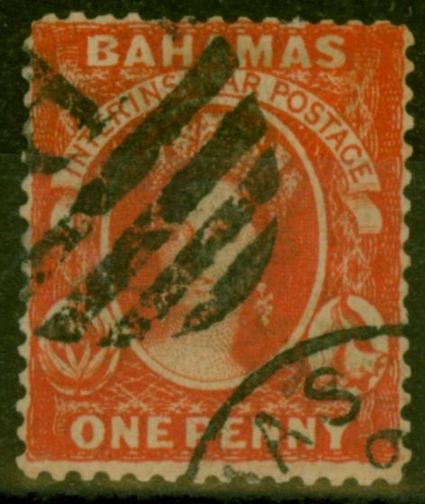 Old Postage Stamp from Bahamas 1877 1d Scarlet-Vermilion (Aniline) SG34 Fine Used Forged Cancel