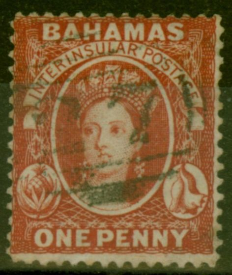Collectible Postage Stamp from Bahamas 1877 1d Scarlet-Vermilion SG33x Wmk Reversed Fine Used