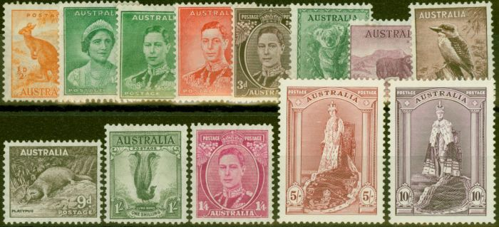 Valuable Postage Stamp from Australia 1937-38 set of 13 to 10s SG164-177 Fine Lightly Mtd Mint