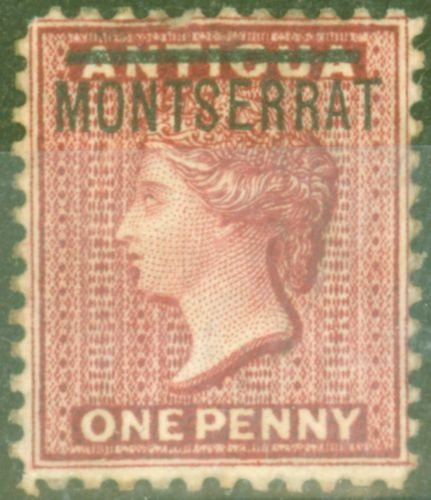 Collectible Postage Stamp from Montserrat 1883 1d Red SG6a Inverted S Fine Mtd Mint Scarce