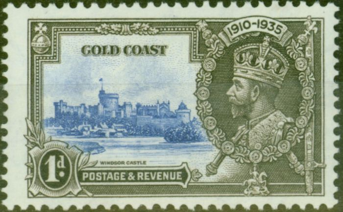 Valuable Postage Stamp from Gold Coast 1935 1d Ultramarine & Grey-Black SG113C Lighting Conductor Fine Mtd Mint