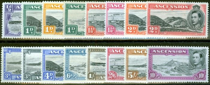 Collectible Postage Stamp from Ascension 1938-49 set of 16 SG38b-47b Fine Mtd Mint