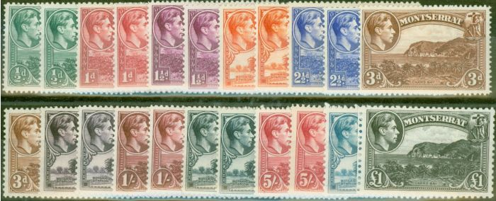 Collectible Postage Stamp from Montserrat 1938-48 Extended set of 22 SG101-112 All Perfs Fine Lightly Mtd Mint CV £340