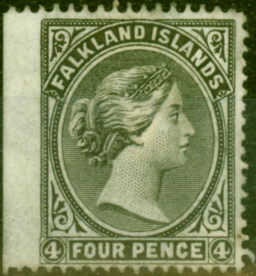 Valuable Postage Stamp from Falkland Islands 1879 4d Grey-Black SG2a on Wmkd Paper Fine Mtd Mint Rare