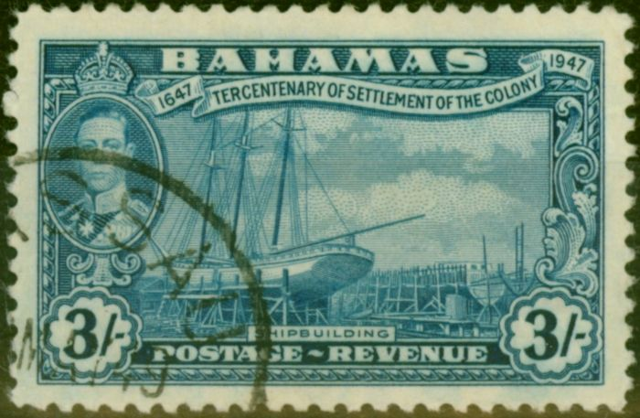 Old Postage Stamp from Bahamas 1948 3s Blue SG190 V.F.U