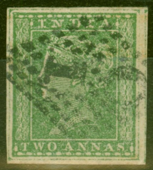 Collectible Postage Stamp from India 1854 2a Green SG31b Wmk Type 10a 4 Good Margins Fine Used Scarce