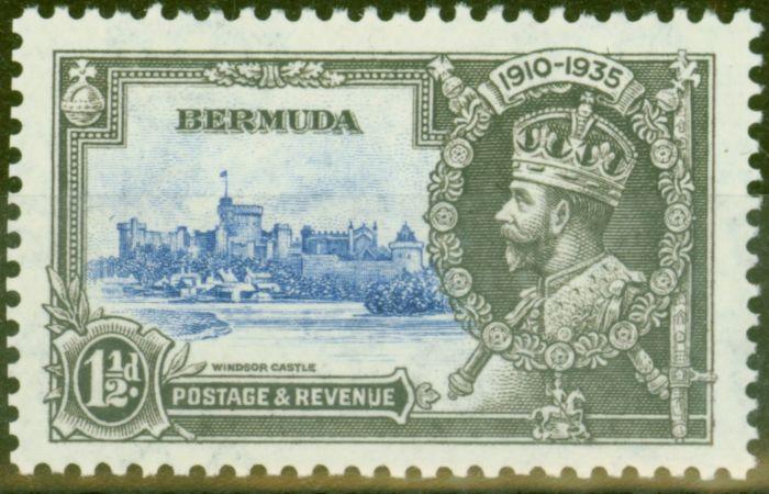 Rare Postage Stamp from Bermuda 1935 1 1/2d Ultramarine & Grey SG95m Bird by Turret V.F Very Lightly Mtd Mint