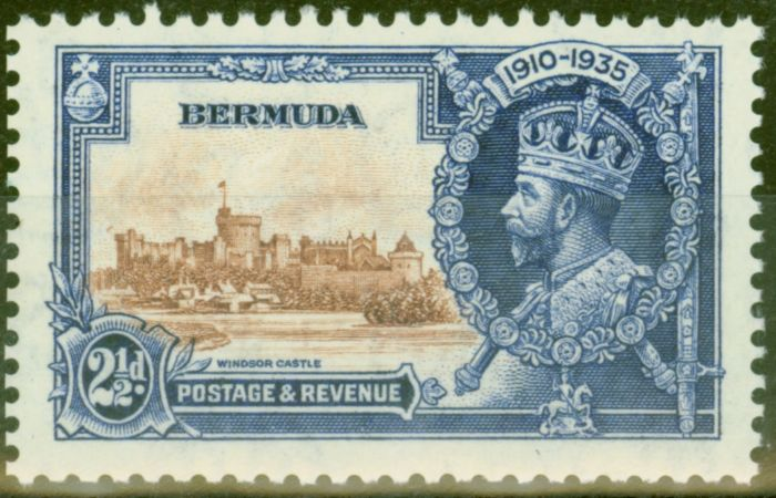Rare Postage Stamp from Bermuda 1935 2 1/2d Brown & Dp Blue SG96m Bird by Turret V.F Very Lightly Mtd Mint