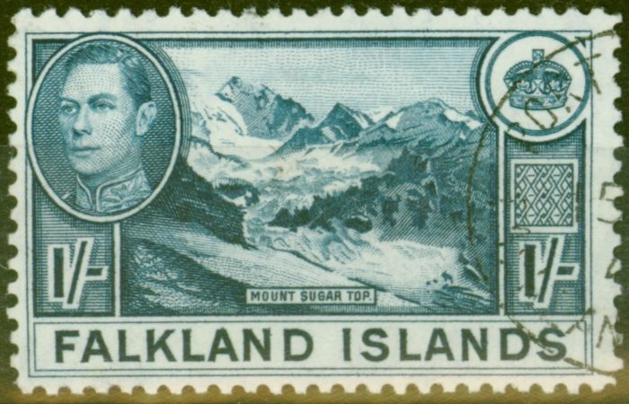 Valuable Postage Stamp from Falkland Is 1938 1s Dull Blue Greyish Paper SG158b V.F.U